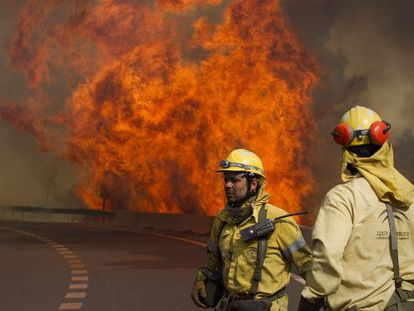 Firefighters on Friday struggle to control a blaze near Coín in Málaga province.