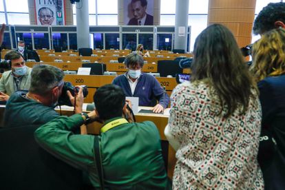 Carles Puigdemont back at the European Parliament in Brussels on September 27.