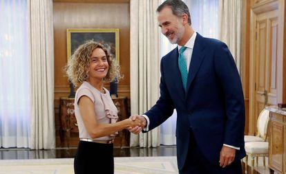 King Felipe with Congressional speaker Meritxell Batet on Thursday.