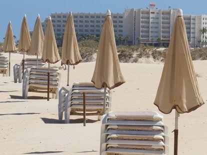 An empty beach in Fuerteventura in Spain's Canary Islands.