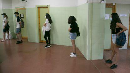 Students at a public school in Collado Villalba (Madrid).
