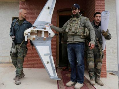 Spanish special forces personnel with an explosives-packed ISIS drone.