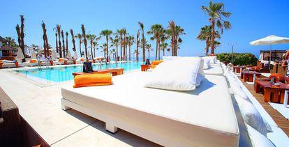 Splendid summer lounge furnishings at Nikki Beach in Marbella