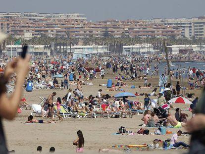 Malvarrosa beach in Valencia on Easter Monday.