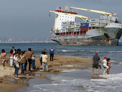 One of the ships that ran aground off the coast of Valencia, due to last week's heavy storms.