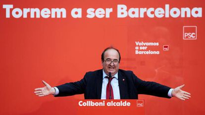 Miquel Iceta, head of the Catalan Socialists, at a campaign event.
