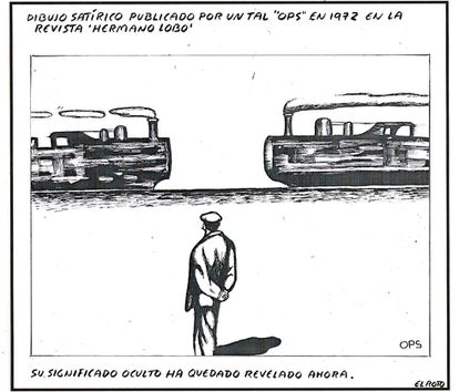 A satirical drawing by 'Ops' from 1972 published in 'Hermano Lobo.' The hidden meaning has now been revealed.