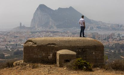 View of Gibraltar and La Línea de la Concepción from a bunker on Sierra Carbonera.