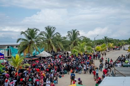 Hundreds of Haitian migrants trying to reach the US via Colombia.