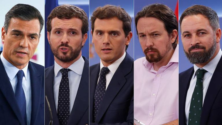From left to right: Pedro Sánchez (PSOE), Pablo Casado (PP), Albert Rivera (Ciudadanos), Pablo Iglesias (UP) and Santiago Abascal (Vox).