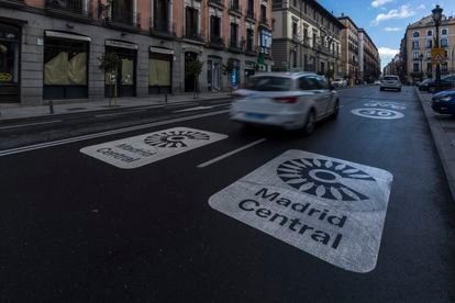 A sign for Madrid Central in the center of Madrid.
