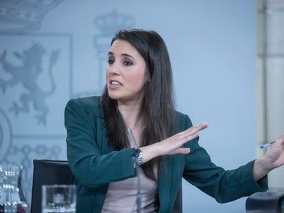 Equality Minister Irene Montero during Tuesday's press conference.