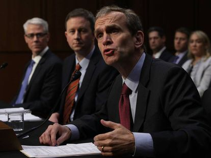 Testifying before the Senate Intelligence Committee, from left to right: Vice-president and legal representative for Facebook, Colin Stretch; Twitter representative, Sean Edgett; and Google representative, Kent Walker.