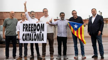 Six separatist leaders stand outside Lledoners prison on Wednesday after being pardoned.