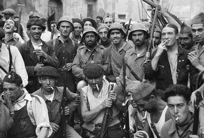 Members of the Republican militia in Grañén (Huesca province), September 12, 1936.