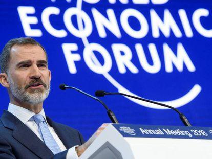 Felipe VI speaking in Davos.