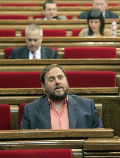 ERC leader Oriol Junqueras in the Catalan parliament in June.