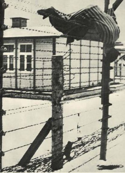 The body of a Russian prisoner on Mauthausen's electrified fence.