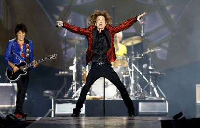 The Rolling Stones performing in Madrid on Wednesday.