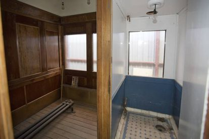 The principal compartment and the bathroom.