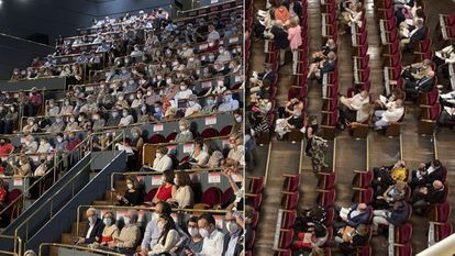 Audience members in the upper galleries (l) and on the ground floor (r)  before Sunday's performance at the Teatro Real.