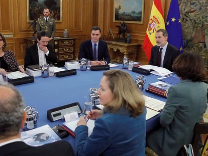 A meeting of Spain's National Security Council in March of this year.