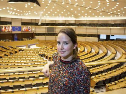 Cristina Cartes, 30, inside the European Parliament.