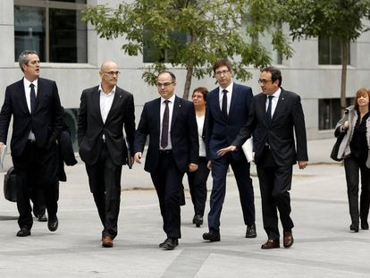 Former members of the Catalan government, who have now been incarcerated, on Thursday at the High Court.