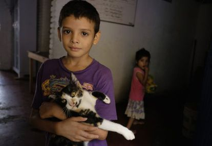 A child from Honduras at an immigrant shelter in Mexico.