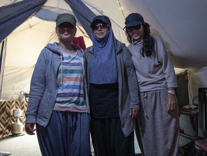 (l-r) Widad from Germany and Nawal and Hafida from the Netherlands talk about their experience in the Al-Roj camp for the families of ISIS militants.
