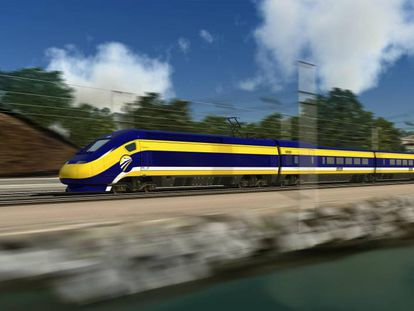 An artist's impression of the California bullet train.