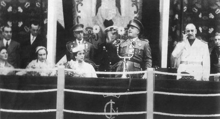 General Francisco Franco speaks during the inauguration of Águeda del Caudillo in 1954.