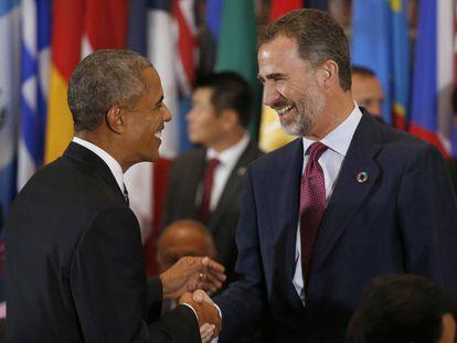 Felipe VI greets President Obama at the UN in New York.