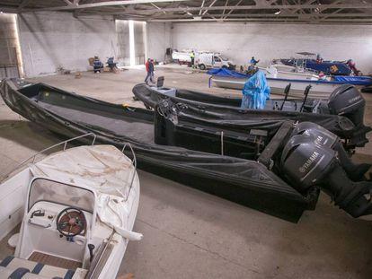 Impounded drug boats inside a warehouse in Cádiz.