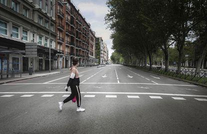 An empty Paseo del Prado during Spain's lockdown.