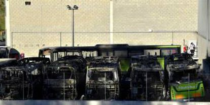 Burnt buses such as these in the Basque province of Bizkaia were a regular feature of 'kale borroka' in its heyday.
