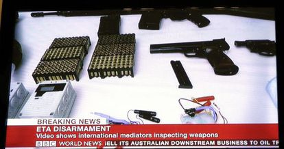 Some of the weapons shown by ETA to a verification commission in February.