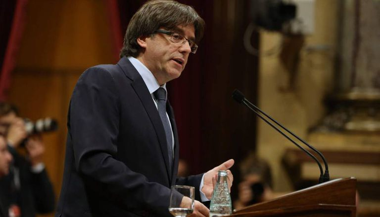 Catalan premier Carles Puigdemont in the regional parliament on Wednesday.