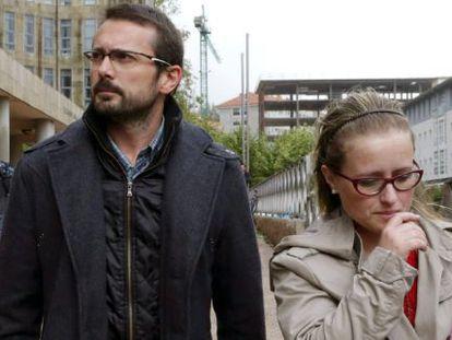 Andrea's parents, Antonio Lago and Estela Ordoñez, leave the court in Santiago.