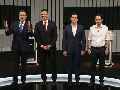 From left to right: Mariano Rajoy, Pedro Sánchez, Albert Rivera and Pablo Iglesias ahead of Monday's televised electoral debate.