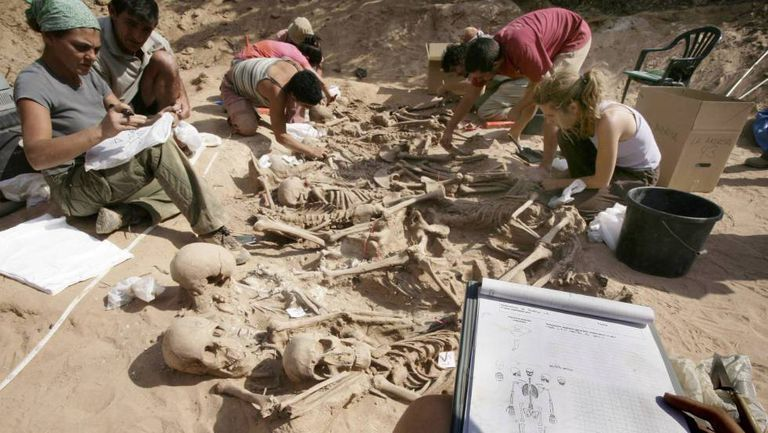 A mass grave exhumation in Spain.