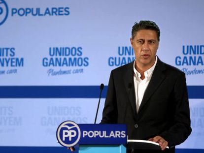PP candidate Xavier Garcia Albiol speaks after the polls on Sunday.
