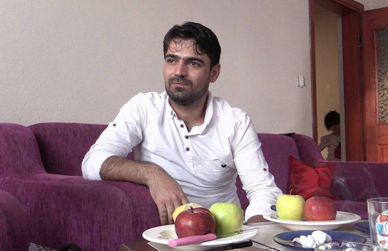 Syrian carpenter Rafat Rayub at his house in Turkey.
