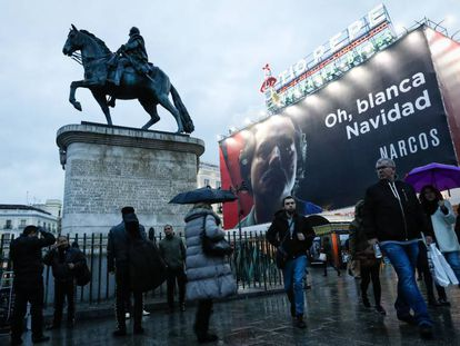 The poster in Madrid's Sol Square that has caused the diplomatic spat.