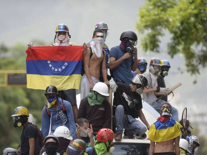 Opposition protesters in Caracas.