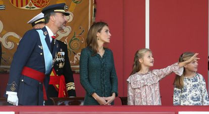 King Felipe, Queen Letizia, the Princess of Asturias and the 'infanta' Sofía during a military parade in October.