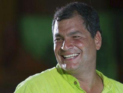 Ecuadorian President Rafael Correa at a rally in Guayaquil.