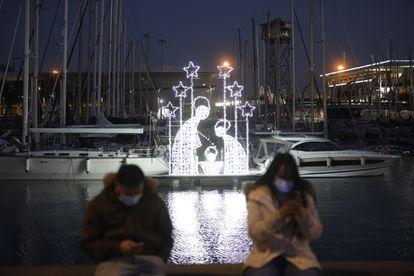 Christmas lights in Barcelona.