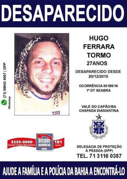 A missing poster for Hugo Ferrara.
