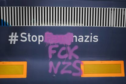 The bus was vandalized by activists in Barcelona.